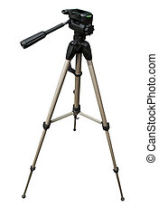 Camera tripod with white background
