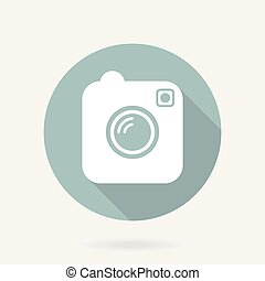 Camera Vector Flat Icon With Long Shadow