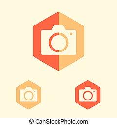 camera vector icon in flat design style