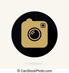 Camera Vector Icon With Flat Design. Black and Golden Colors...