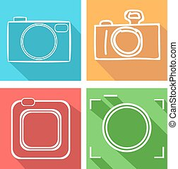 Camera vector icons set