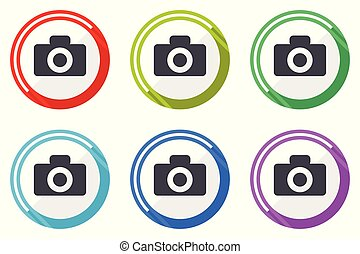 Camera vector icons, set of colorful flat design internet symbols on white background