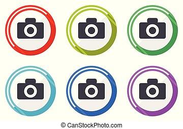 Camera vector icons, set of colorful flat design internet symbols on white background