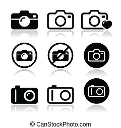 Camera vector icons set - Take picture, camera icons set ...