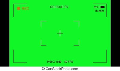 Camera viewfinder. Camera Recording Screen with alpha channel in loop mode. TV REC, Chromakey background