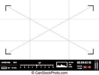 Camera viewfinder rec background. Camera focusing screen.
