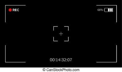 Camera viewfinder. Recording.