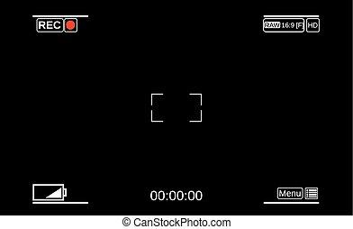 Camera viewfinder. Template focusing screen of the camera.