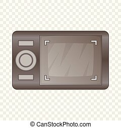 Camera viewfinder with exposure icon cartoon style