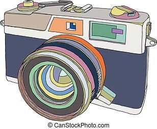 Camera - Vintage old photo camera draw. Vector illustration...