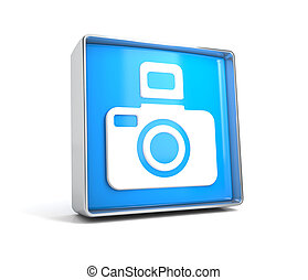 Camera - web button isolated on white background