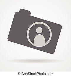 camera web icon with human symbol