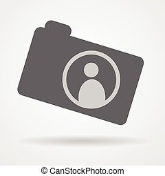 camera web icon with human symbol