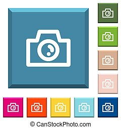 Camera white icons on edged square buttons