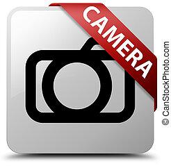 Camera white square button red ribbon in corner