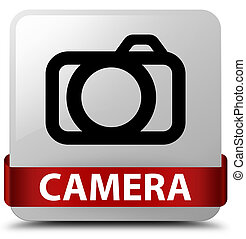 Camera white square button red ribbon in middle