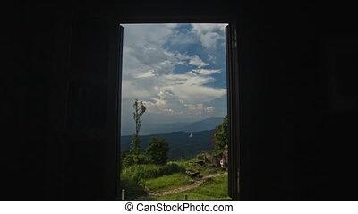 Camera Widens Window Shows Landscape through - camera widens...