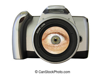 Camera with an eye in the lens