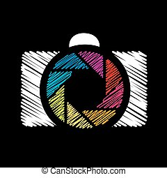 Camera with colorful aperture