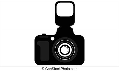 Camera with flash, art video illustration.