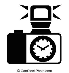 Camera with flash icon, simple style