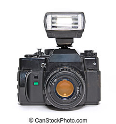 camera with flash on white background