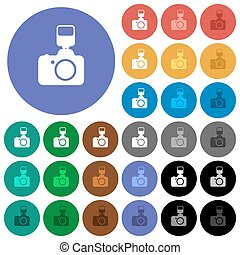 Camera with flash round flat multi colored icons