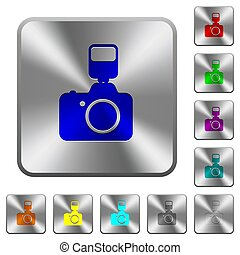 Camera with flash rounded square steel buttons