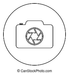 Camera with focus of lens concept icon in circle round outline black color vector illustration flat style image