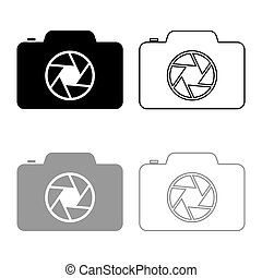 Camera with focus of lens concept icon outline set black grey color vector illustration flat style image