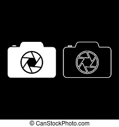 Camera with focus of lens concept icon outline set white color vector illustration flat style image