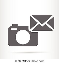 camera with letter symbol web icon