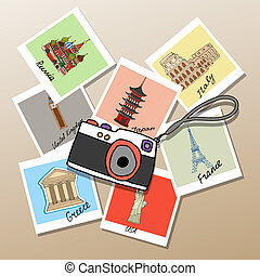 Camera with photographs of global landmarks and tourist...
