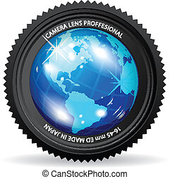 Camera World - Zoom the World! Vector illustration of camera...