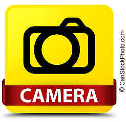 Camera yellow square button red ribbon in middle