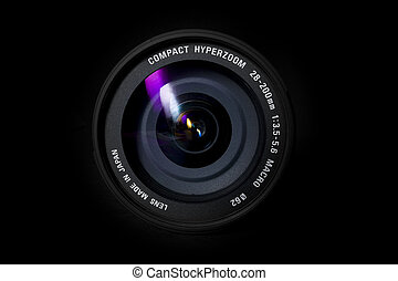 A camera zoom lens on a black background