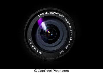 Camera Zoom Lens - A camera zoom lens on a black background