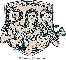cameraman, acquaforte, equipaggio, soundman, clapperboard, ...