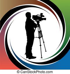 Cameraman at work silhouettes