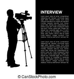 Cameraman at work silhouettes with interview page