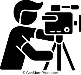 Cameraman black glyph icon