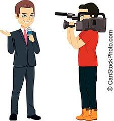 cameraman, e, repórter
