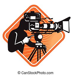 cameraman-film-crew-director - vector illustration of film...
