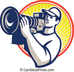 illustration of a cameraman film crew shooting with hd video movie camera set inside circle done in retro style on isolated white backgrounbd.