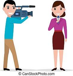 cameraman, filmado, mulher, jornalista, com, microfone