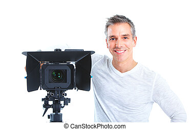 Handsome man with camcorder. Isolated over white background
