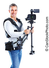 Handsome man with camera system support. Isolated over white background