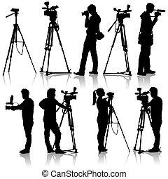 cameraman, illustration., arrière-plan., silhouettes, vecteur, vidéo, appareil-photo., blanc
