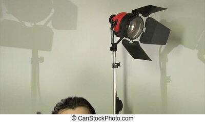 cameraman in studio - cameraman shooting panorama from...