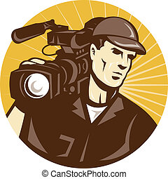 cameraman, professionnel, équipede tournage